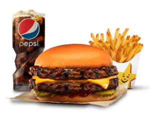 Combo, Deals, Hardees, Smokey BBQ Double Cheese Burger Combo