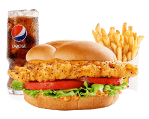 Combo, Chicken, Hardees, Santa Fe Chicken Fillet Sandwich Combo